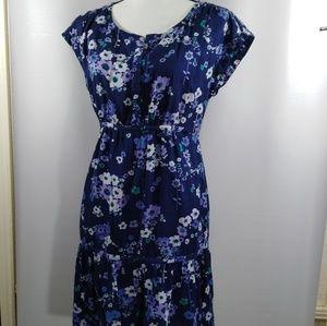 Gap Floral Dress Size 4 Blue Tie Waist Ruffle